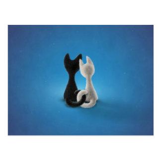 Black Cat White Cat (Color 1) Postcard