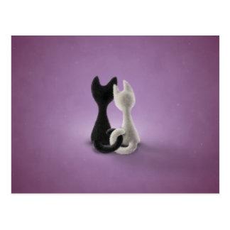 Black Cat White Cat (Color 4) Postcard