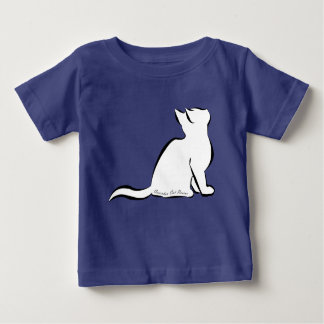 Black cat, white fill, inside text baby T-Shirt