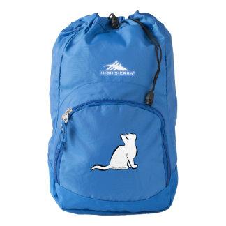 Black cat, white fill, inside text backpack