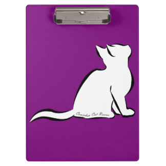 Black cat, white fill, inside text clipboard