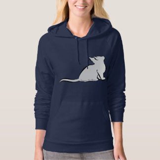 Black cat, white fill, inside text hoodie
