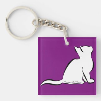 Black cat, white fill, inside text keychain
