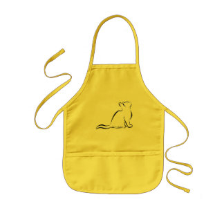 Black cat, white fill, inside text kids apron