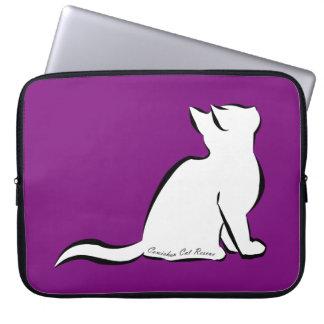 Black cat, white fill, inside text laptop sleeve