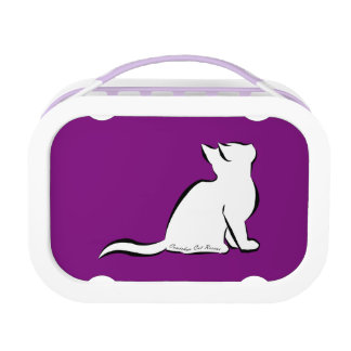 Black cat, white fill, inside text lunch box