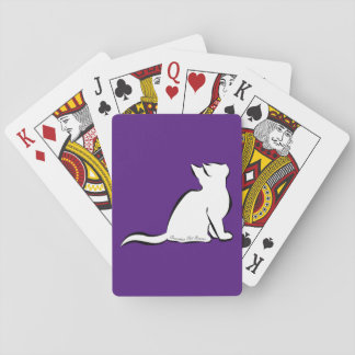 Black cat, white fill, inside text playing cards