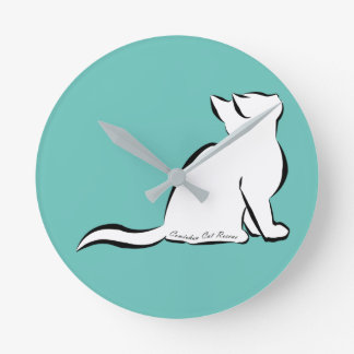 Black cat, white fill, inside text round clock