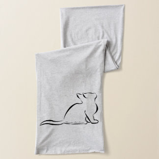 Black cat, white fill, inside text scarf