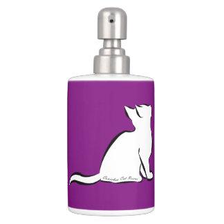 Black cat, white fill, inside text soap dispenser and toothbrush holder