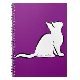 Black cat, white fill, inside text spiral notebook