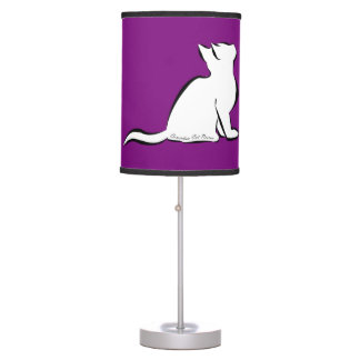 Black cat, white fill, inside text table lamp
