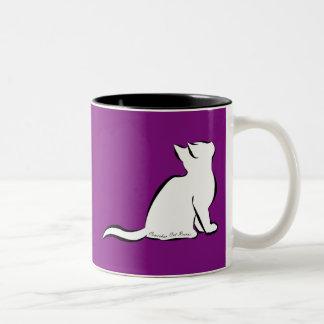 Black cat, white fill, inside text Two-Tone coffee mug