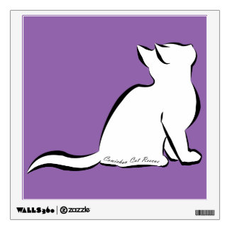 Black cat, white fill, inside text wall decal