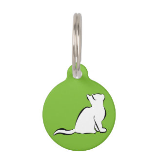 Black cat, white fill pet ID tag