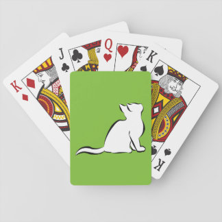 Black cat, white fill playing cards