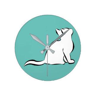 Black cat, white fill round clock