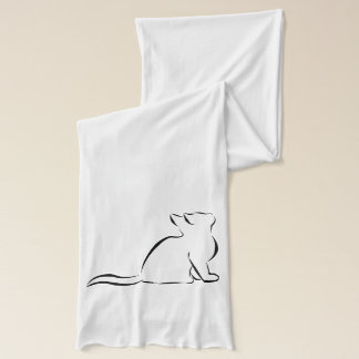Black cat, white fill scarf