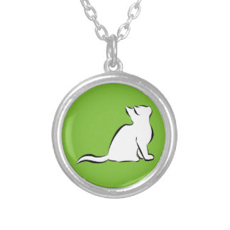 Black cat, white fill silver plated necklace