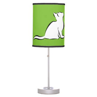 Black cat, white fill table lamp