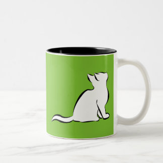 Black cat, white fill Two-Tone coffee mug