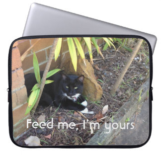 Black cat white whiskers don't need you laptop sleeve