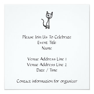 "Black Cat, Winking. 5.25"" Square Invitation Card"