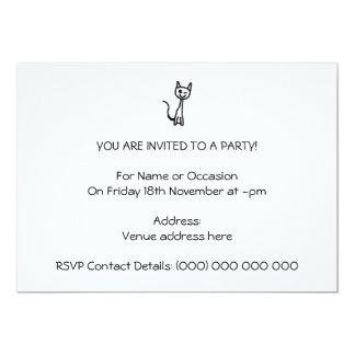 """Black Cat, Winking. 5"""" X 7"""" Invitation Card"""