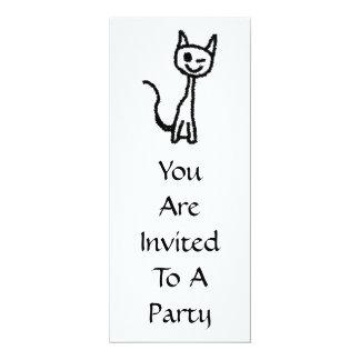 """Black Cat, Winking. 4"""" X 9.25"""" Invitation Card"""