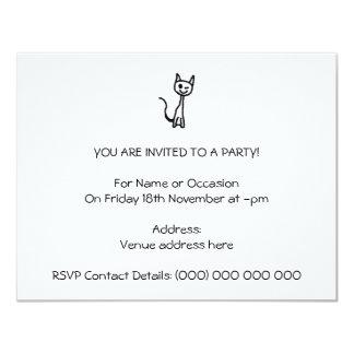 """Black Cat, Winking. 4.25"""" X 5.5"""" Invitation Card"""