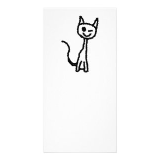Black Cat, Winking. Personalized Photo Card