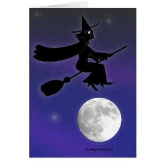 Black Cat Witch Card