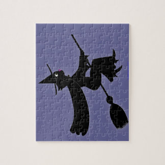 Black Cat Witch Riding Broom Jigsaw Puzzle
