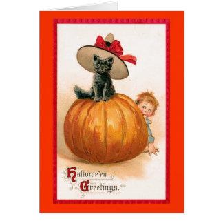 Black Cat Witch s Hat Card