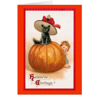 Black Cat Witch's Hat Card