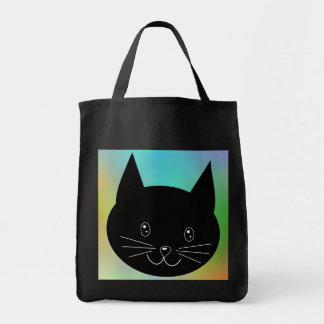 Black Cat, with a background of rainbow colors. Tote Bag