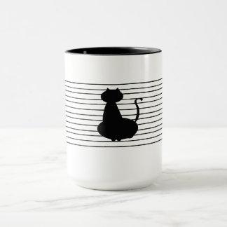 Black Cat With Black Stripes on White Mug