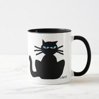 Black Cat with Blue Eyes Sitting Staring Mug