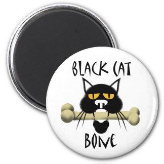 Black Cat With Bone 2 Inch Round Magnet