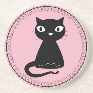 Black Cat with Curled Tail Coaster