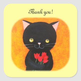Black Cat with Flowers Thank You Favor Stickers
