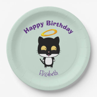 Black Cat With Golden Halo Cute Angel Birthday 9 Inch Paper Plate