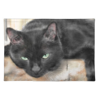Black cat with green eyes placemat