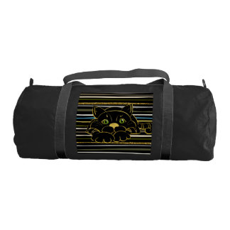 Black Cat with Green Glitter eyes and gold outline Gym Bag