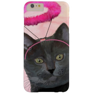 Black Cat With Pink Angel Halo Barely There iPhone 6 Plus Case
