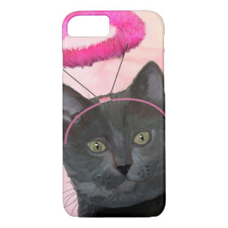 Black Cat With Pink Angel Halo iPhone 7 Case