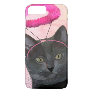 Black Cat With Pink Angel Halo iPhone 7 Plus Case