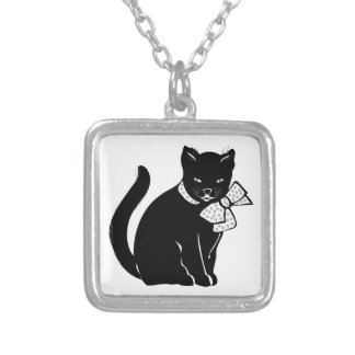 Black Cat With Polka Dot Bow Silver Plated Necklace