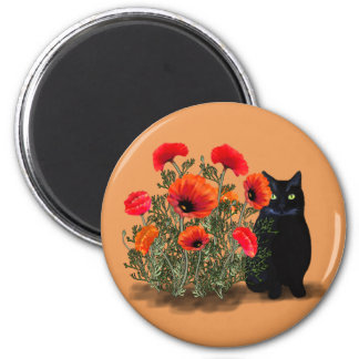 Black Cat with Poppies Magnet
