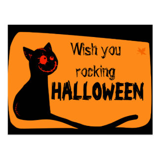 Black cat with red eyes Halloween greeting card